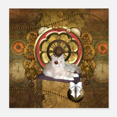 Steampunk Funny steampunk cat - Poster