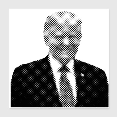 Pixelated Celebrities Trump President smiling - Poster 8x8