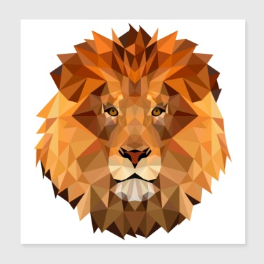 Low Poly Art Lion King Of The Animal Powerful - Poster 8x8