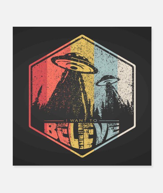Area Posters - I WANT TO BELIEVE - Ufo Poster - Posters white