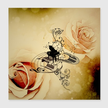 Music, piano with clef - Poster 8x8