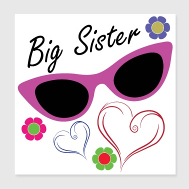 Big Brother Big Sister Big Sister Flowers Hearts - Poster 8x8