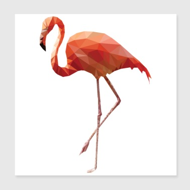 Low Poly Art - Flamingo dancing pink - Gift Idea - Poster 8x8