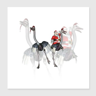 Funny Santa Claus with ostrich - Poster 8x8
