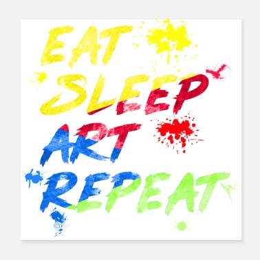 Original Art watercolor eat sleep art repeat - Poster