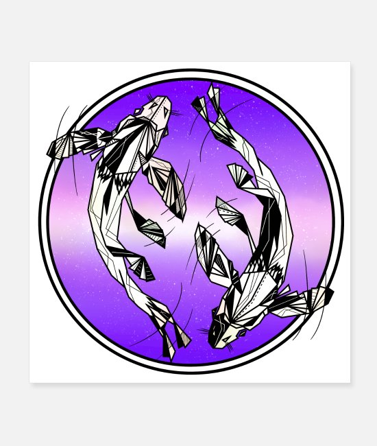 Pisces Horoscope Posters - Pisces fish design - Posters white