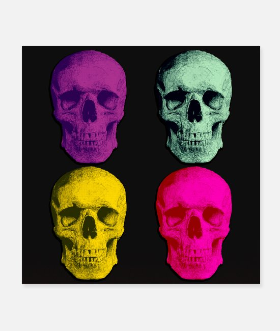 Grin Posters - Four colored skulls - Posters white