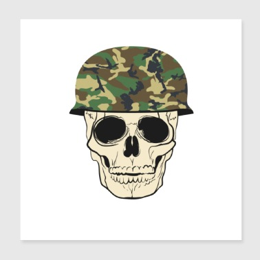 skull with military helmet - Poster 8x8