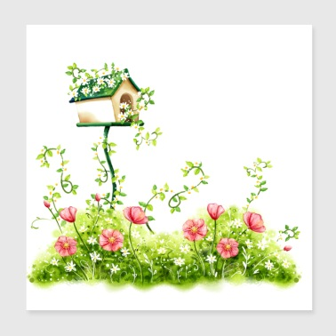 Watercolor: Plants and birdhouse - Poster 8x8