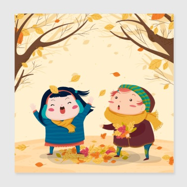 Children in Autumn - Poster 8x8