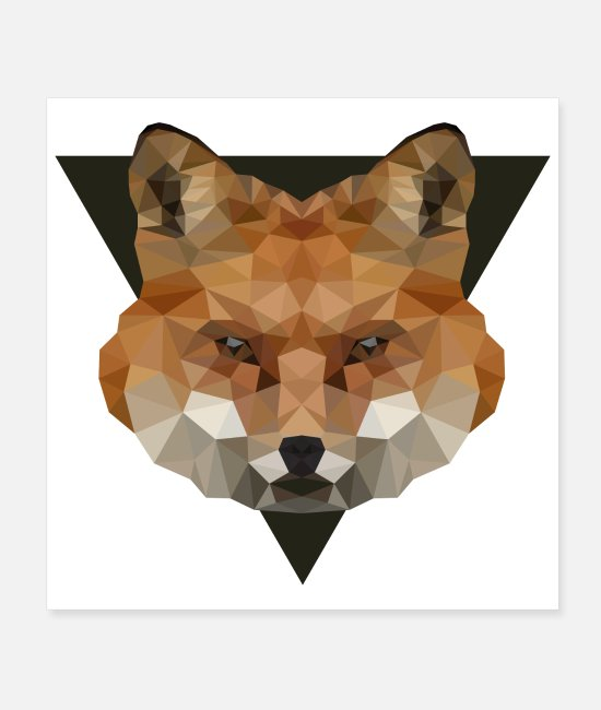 Fox Face Posters - Low Poly Art Fox - Gift Idea - Posters white