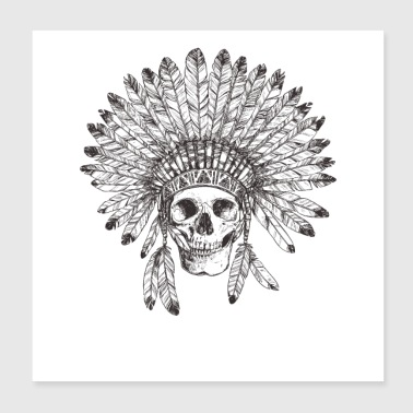 Vintage Tribal Indian Skull Design - Poster 8x8