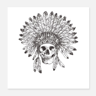 Tribal Vintage Tribal Indian Skull Design - Poster