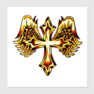 Cross with Angel Wings Poster - Poster 8x8