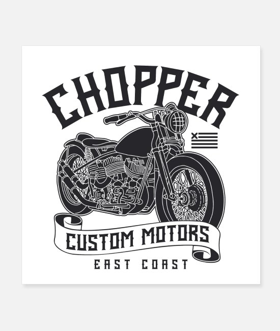 Biker Posters - motorcycle chopper custom motors - Posters white