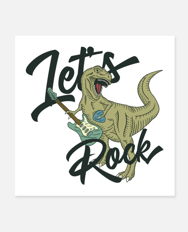 Guitar Posters - Let's Rock T Rex Guitar - Posters white