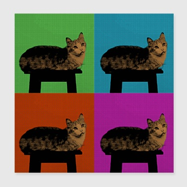 Pop Art Style - Cat on the Stool chill relax - Poster 8x8