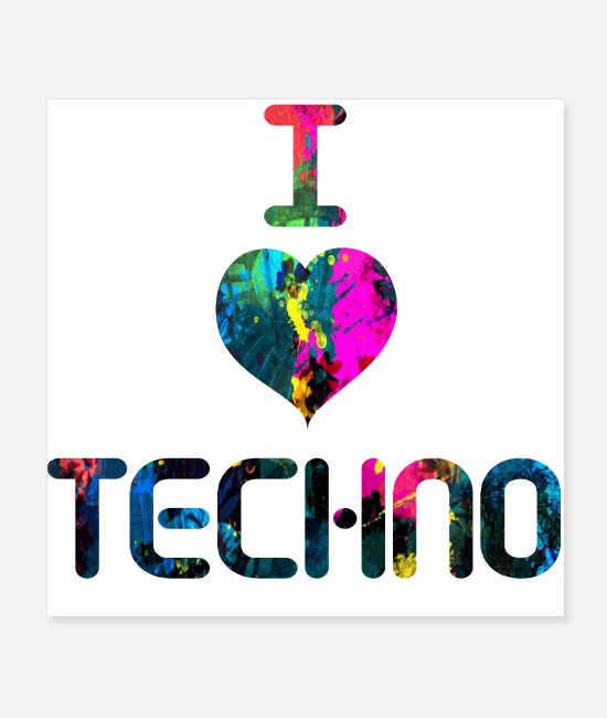 Heart Posters - I Love Techno - Posters white