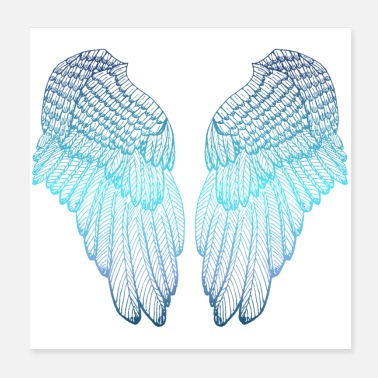 Angelwings Blue Heart - Angel Wings - Poster