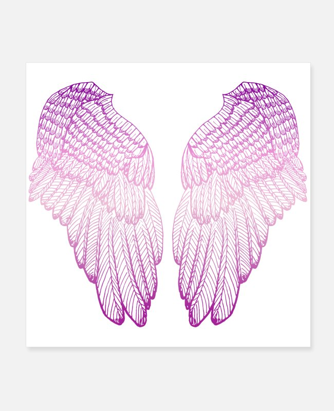 Heart Posters - Pink Heart - Angel Wings - Posters white