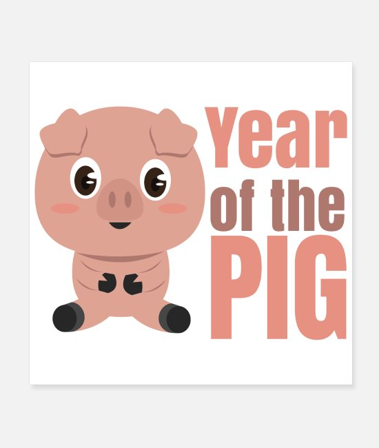 New Posters - Chinese Zodiacs Year of the Pig - Gift Idea - Posters white