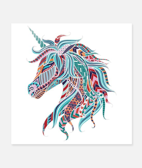 Artsy Posters - Boho Unicorn 25inches - Posters white