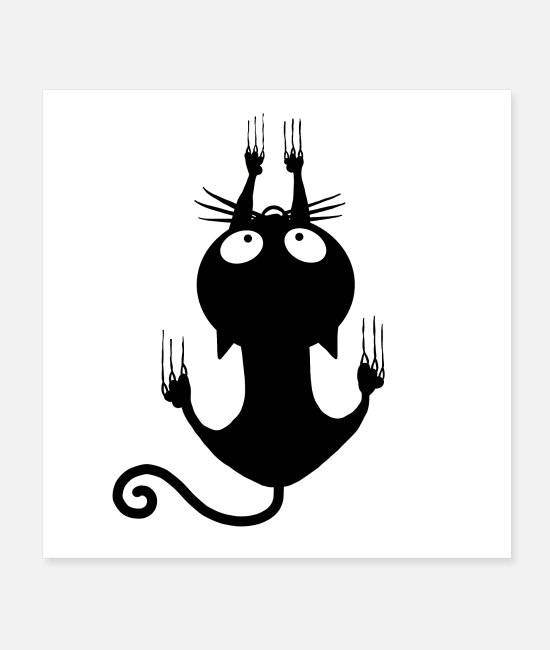 Witchcraft Posters - Climbing Black Cat Halloween - Posters white