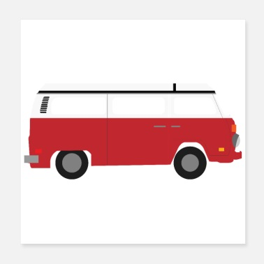 Childhood Flat Design - Red Camper Old Timer - Gift Idea - Poster