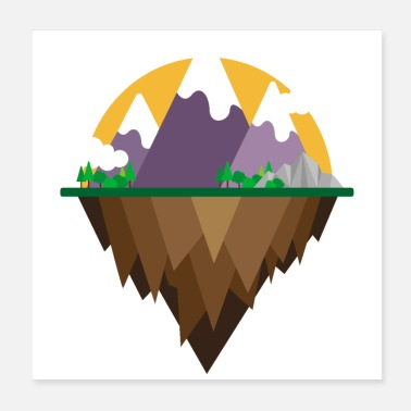 Camper Flat Design - Mountain and lake - Gift Idea - Poster