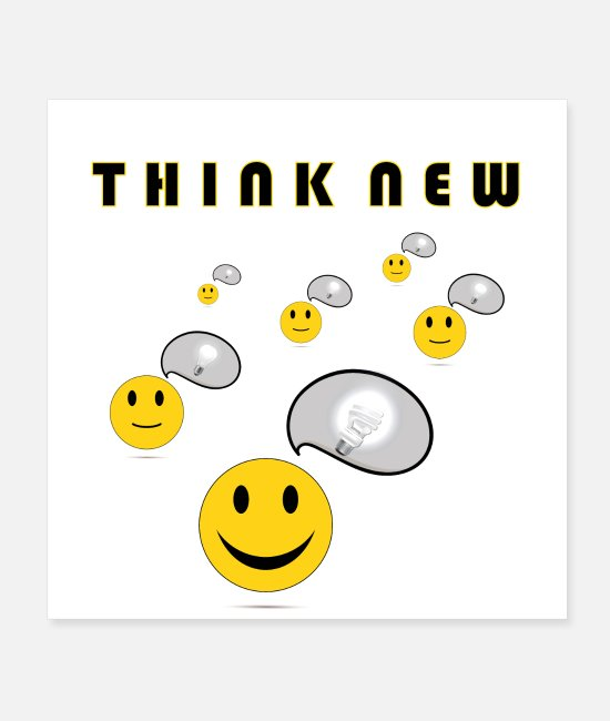 Happy Face Posters - Think New by Coded Arts Media - Posters white