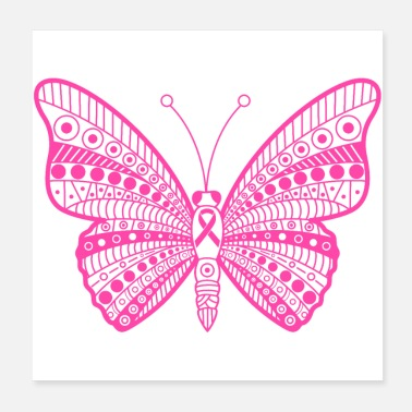 Breast Cancer Ribbon Breast Cancer Pink Ribbon Tribal Butterfly - Poster