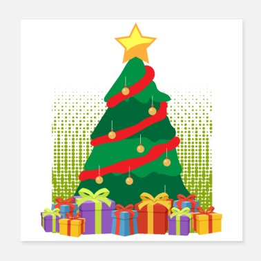 Present Merry Christmas Christmas Tree Presents- Gift Idea - Poster
