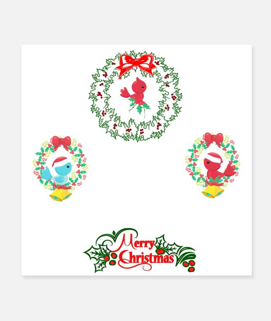 Wreath Posters - Little Christmas Birds - Posters white