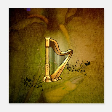 Note Wonderful golden harp with clef and key notes - Poster