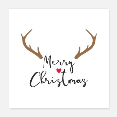 Antler Merry Christmas Red Nose Reindeer Antler Deco - Poster