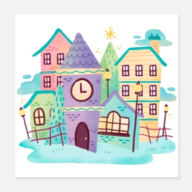 Neighborhood Watercolor Cute Town Scene - Poster