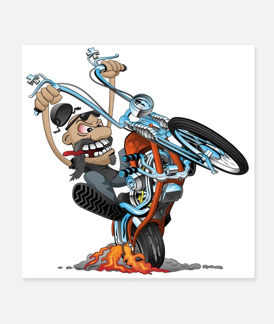 Riding Posters - Funny biker riding a chopper cartoon - Posters white