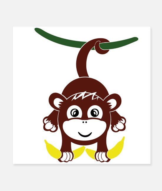 Hang Out Posters - Monkey with banana - Posters white