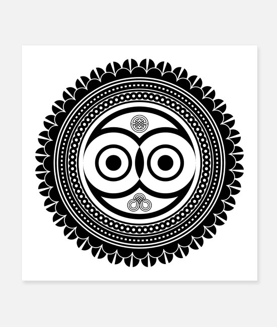 Circular Posters - zentangle with owl mandala - Posters white