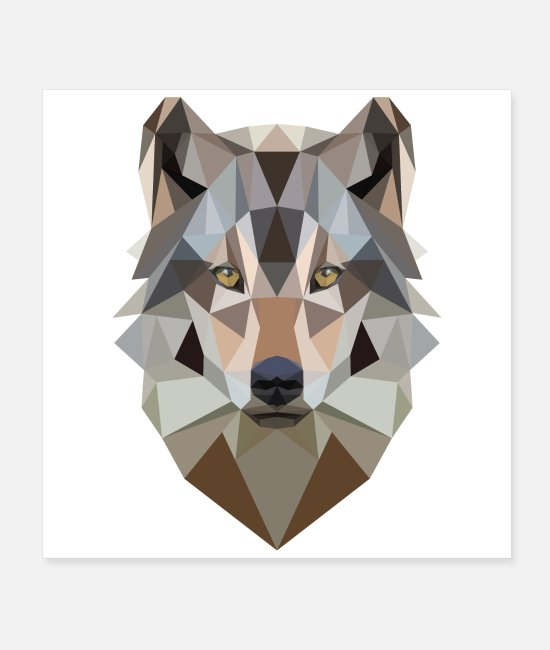 3D Posters - Low Poly Art Wolf - Gift Idea - Posters white