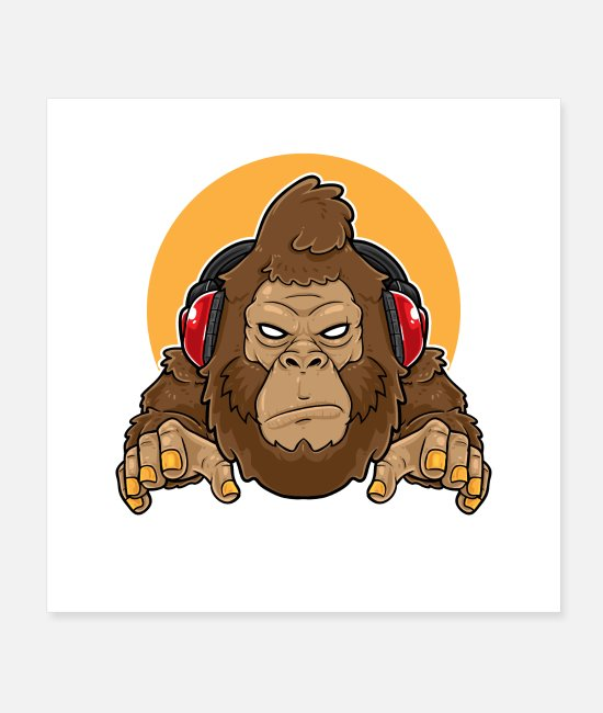 Headphones Posters - Gorilla Music Gaming Mascot - Posters white