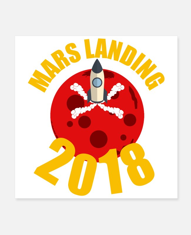 Mars Posters - Science - Mars Landing 2018 - Gift Idea - Posters white