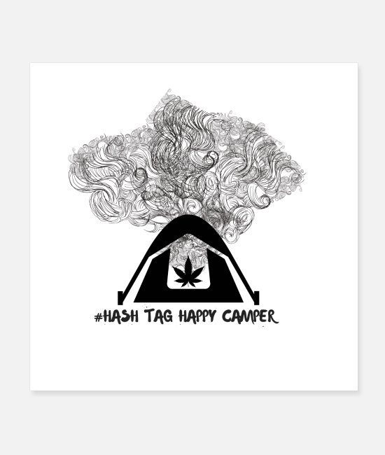 Happy Holidays Posters - Hash Tag Happy Camper - Posters white