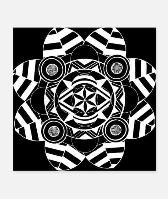 White Posters - Black and White Mandala - Posters white