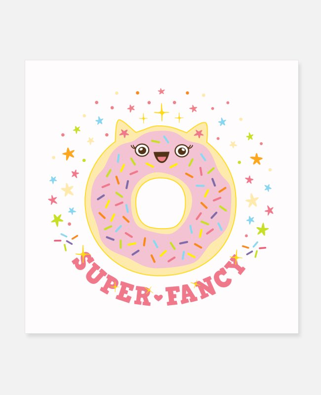 Donut Posters - donut pink cat poster super fancy birthday gift - Posters white
