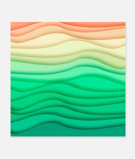 Wave Posters - Colorful Pastel Abstract Waves - Posters white