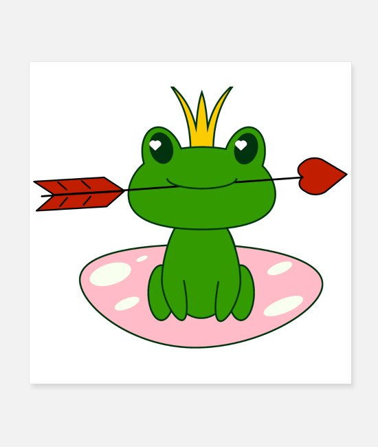 Love Posters - Frog with heart, Valentine s day, love, for girls - Posters white