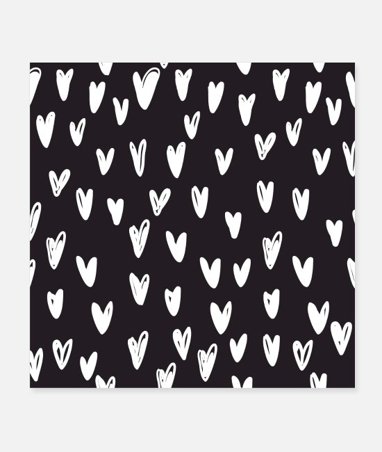 Engagement Posters - Heart hand drawn pattern - Posters white