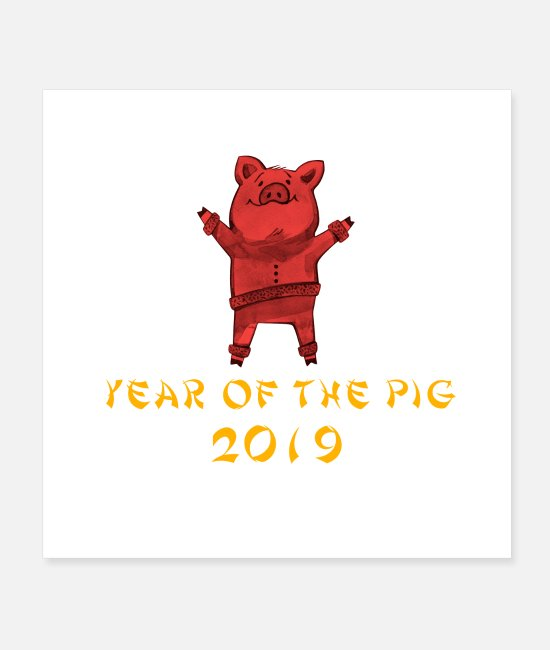 Hog Posters - Chinese New Year 2019 Year Of The Pig - Posters white