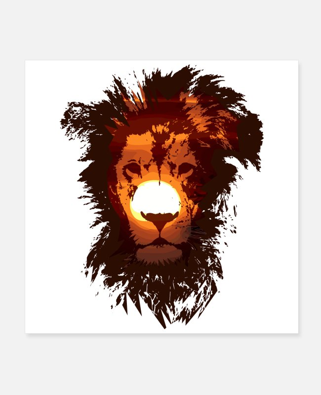 Lion King Posters - Double Exposure Animals - Lion Sun Power Gift Idea - Posters white